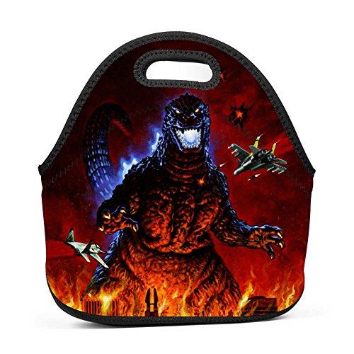 Cily-Bagge Custom God-zilla Cartoon Office/School/Picnic Lunch Bag For Kids/Men/Women Tote Handbag