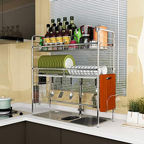 LoveHouse Compact Dish Drying Rack Over The Sink Stainless Steel Dish Rack with Utensils Holder Dish Drainer Shelf for Kitchen Counter Top-Silver 2-Tier 63cm(25inch)