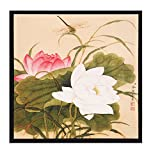 "INK WASH Framed Modern Reproduction Chinese Painting White Pink Buddha Lotus Flower Decor Flowers and Dragonfly Paintings Floral Artwork Fine Art for Living Room Office Decor Ready to Hang 13""x13"""