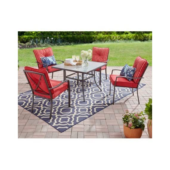 Mainstays Forest Hills 5-Piece Dining Set, Red - Durable, rust-resistant powder-coated steel frame finished in matte espresso finish Tempered glass table top for safety No assembly chairs - patio-furniture, dining-sets-patio-funiture, patio - 51GfoE2MGbL. SS570  -