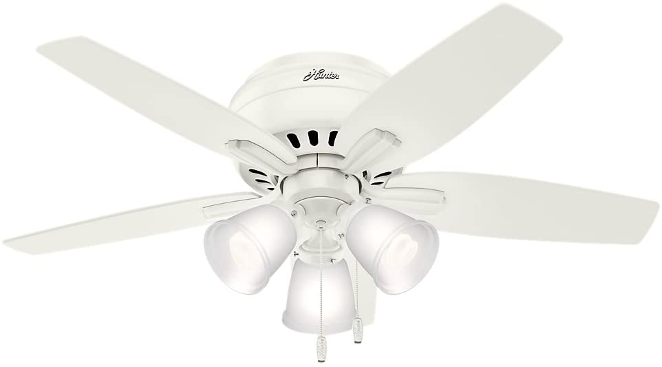Hunter 51077 Newsome Indoor Low Profile Ceiling Fan with LED Light and Pull Chain Control, 42