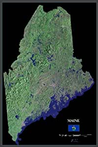 """Maine from space satellite map / print poster / photo: 24"""" x 36"""" Glossy"""