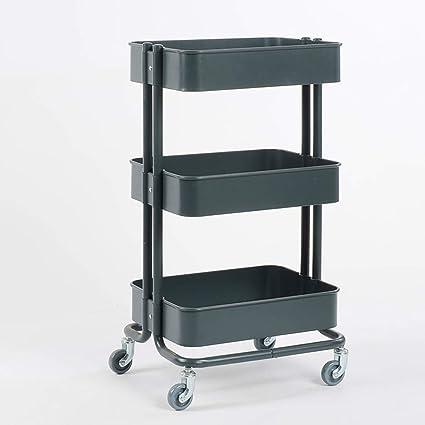 ba/ño estantes de almacenamiento m/óviles de pl/ástico multifuncionales con dos asas y dos perchas para cocina Carro utilitario con ruedas de 3 niveles oficina