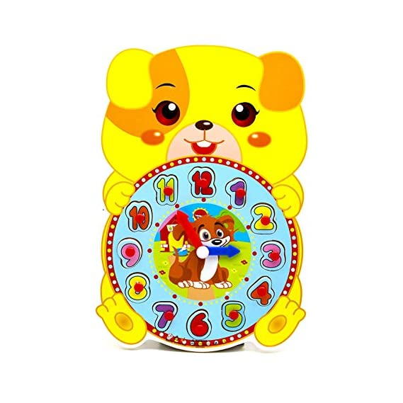 Toyshine Time Learning Cute Animal Shaped Wooden Clock for Kids with Moveable Hands