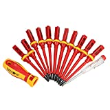 KKmoon 13pcs 1000V Changeable Insulated Screwdrivers Set with Magnetic Slotted Phillips Pozidriv Torx Bits Electrician Repair Tools Kit