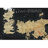 Game of Thrones World Map Westeros and Essos TV Poster (24 x 36 inches)