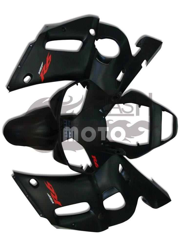 FlashMoto yamaha ヤマハ R6 YZF-600 1998 1999 2000 2001 2002用フェアリング 塗装済 オートバイ用射出成型ABS樹脂ボディワークのフェアリングキットセット ブラック   B07LDSMJMN