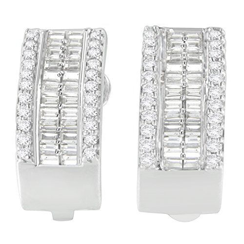 14K White Gold Round and Baguette Cut Diamond Earrings (1.00 cttw, H-I Color, SI2-I1 (Baguette Cut Diamond Earrings)