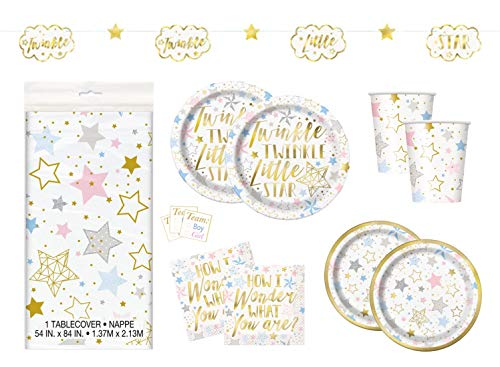 Twinkle Twinkle Little Star Boy or Girl Gender Reveal Neutral Baby Shower Party Supplies - Dinner and Cake Size Plates, Cups, Napkins, Tablecloth, Stickers, Banner Decoration (Serves 16) ()