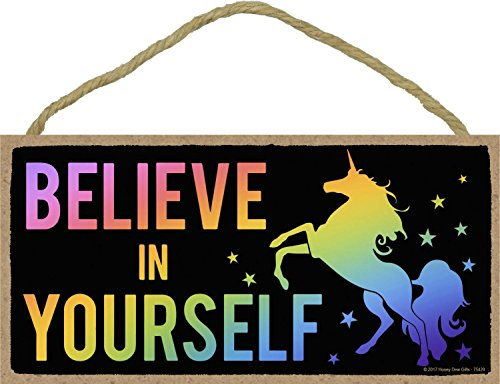 Believe in Yourself - Rainbow Unicorn - 5 x 10 inch Hanging, Wall Art, Decorative Wood Sign Home Decor