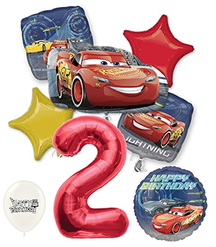 Red Number 2nd Birthday Disney Cars Lightning Mcqueen Bouquet Of Balloons -