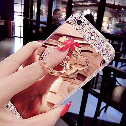 Funda Galaxy J5,Saincat TPU Silicona con Diseño 3D Carcasa Cute Bear Ring Stand Titular Caso Diamante Piedras de Brillo Bling Flores Espejo Funda Mirror Case con Ring Stand Holder Bumper Case Shockpro Oro