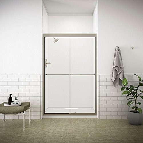 KOHLER Fluence 47-5/8 in. x 70-5/16 in. Semi-Frameless Sliding Shower Door in Matte Nickel with Handle