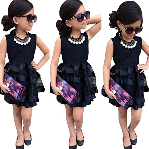 FEITONG Kids Baby Girls Leopard Printing Short Sleeveless Dress (5-6Y, W-Black) (Kids Christmas Dress)