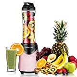 Smoothies Blender 300 Watt with 18 oz BPA Free Portable Travel Sports Bottle (Pink)