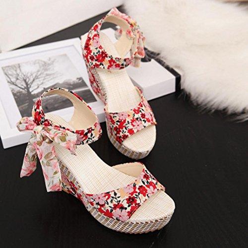HARRYSTORE 2017 Nueva cuesta del verano de la manera de las mujeres frescas con los zapatos de los holgazanes de las sandalias de los fracasos de tirón Rojo