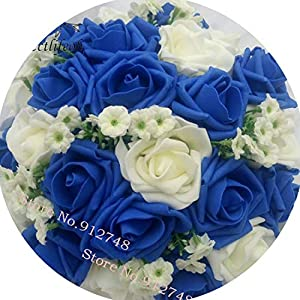 Tokyo Cold Royal Blue Beautiful Foam Roses Artificial Flower Bride Bouquet Party Decor Bouquet for Wedding Decoration 106