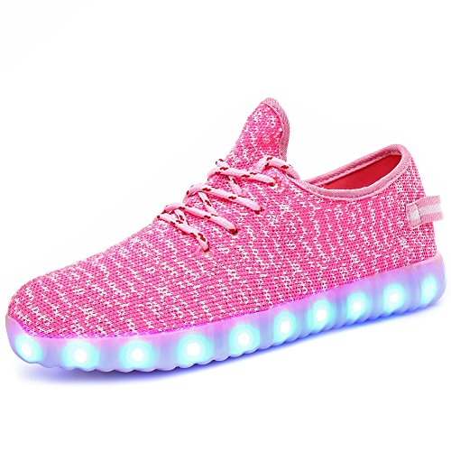 FASHOE Colors Breathable LED Light Up Shoes Flashing Sneakers for Kids Boys Girls-3001-Pink-28 (Shoes Kids Pink)