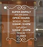 Custom Store Busines Office Hours Vinyl Window Glass Door Decal Sticker