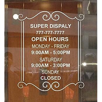 Amazon Custom Store Busines Office Hours Vinyl Window Glass