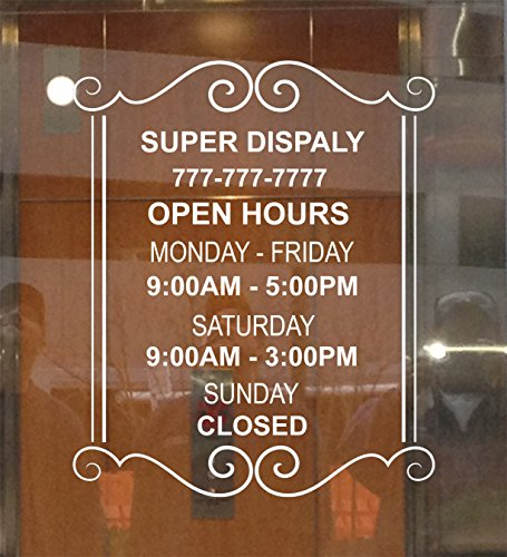 Custom Store Busines Office Hours Vinyl Window Glass Door Decal Sticker (Of Hours Orange Leaf Operation)