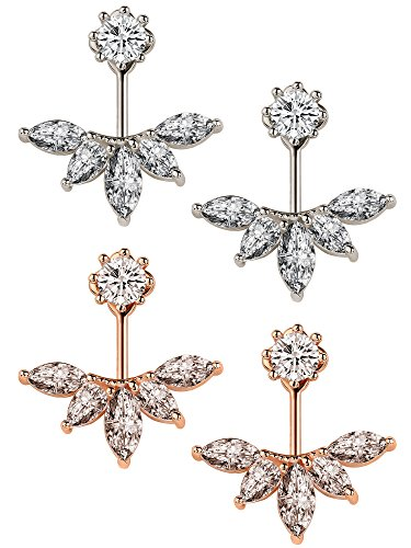 Sumind 2 Pairs Ear Jacket Crystal Ear Cuffs Leaf Feather Earrings Stud Earring, Silver and Rose Gold
