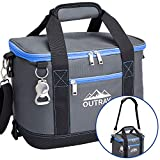 Blue Insulated Cooler Bag - 6L Collapsible Thermal Lunch Bag with Bottle Opener, 16 Can Capacity - Perfect For Camping, Picnics and Travel - Handles and Removable Shoulder Strap - By Outrav