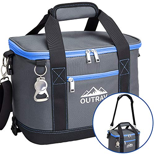 (Blue Insulated Cooler Bag – Collapsible Thermal Lunch Bag with Bottle Opener – Perfect For Camping, Picnics and Travel - Handles and Removable Shoulder Strap - By Outrav)