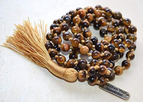 Hand Knotted Tiger's eye Tigereye mala beads necklace 6mm 108 Buddhist prayer beads japa mala Energized Tibetan yoga meditation rosary for chanting mantra - w/free velvet rosary pouch - US Seller