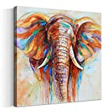 painting designs on walls Crescent Art Original Design Large Contemporary Abstract Colourful Elephant Painting on Canvas Print Wall Art Picture for Living Room Bedroom Wall Decor (40 x 40 inch, Framed)