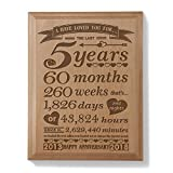 Kate Posh - 5th Anniversary Engraved Natural Wood Plaque (5 Years & 60 Months) - 2013 (Marriage Year) and 2018 (5th Anniversary Year), 5th Wedding Anniversary Gifts for Her, for Him, for Couple