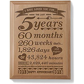 Amazon.com: Kate Posh - 5th Anniversary Engraved Natural Wood Plaque ...