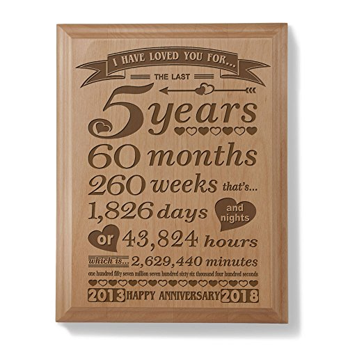 5th Anniversary Solid Wood Plaque (5 Years & 60 Months) - Includes 2013 (Marriage Year) and 2018 (5th Anniversary Year)