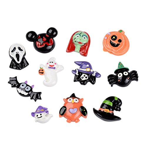 Halloween Embellishments - Pandahall 50 PCS Mixed Halloween Theme Resin Cabochons for Craft Making