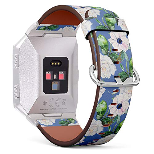 Compatible with Fitbit Ionic Leather Watch Wrist Band Strap Bracelet with Stainless Steel Clasp and Adapters (French Anemone Roses Watercolor)