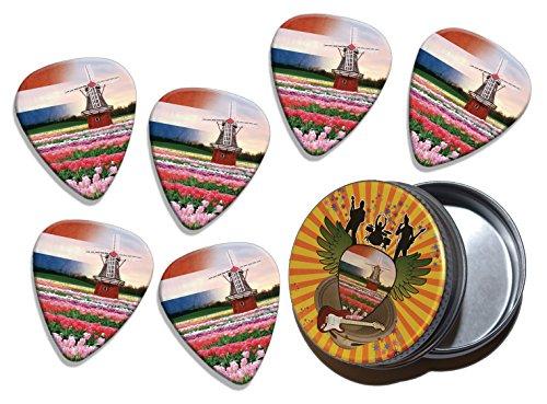 - Netherlands Windmill Tulips 6 X Logo Guitar Picks & Stash Tin (GD)