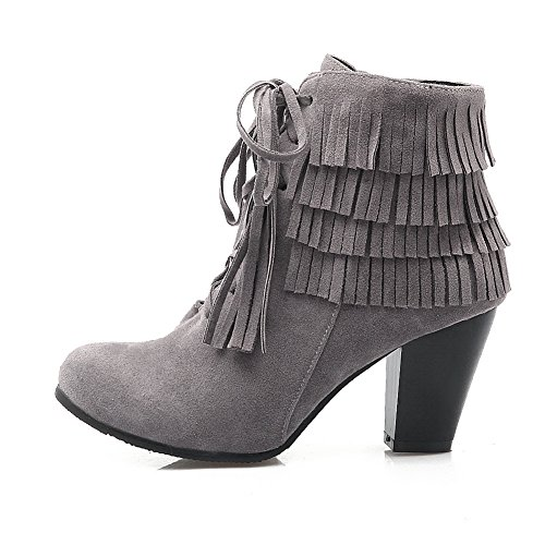BalaMasa Girls Tassels Chunky Heels Mule Frosted Boots Gray N7sGQ4