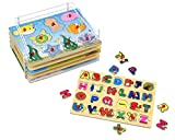 Wooden Puzzles For Toddlers by Etna Products - 6 Colorful Peg Puzzles with Bonus Puzzle Rack, Ideal Fun and Educational Toys for 1 Year Olds - Includes Alphabet Puzzle, Number Puzzle and More