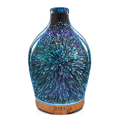 280ml 3D Glass Essential Oil Diffuser Aromatherapy Ultrasonic Humidifier - 7 Color Changing LEDs, Waterless Auto-Off,Timer Setting, BPA Free for Home Hotel Yoga Leisure SPA Gift