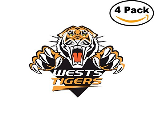 Wests Tigers (Rugby Wests Tigers Logo Ti 4 Stickers 4X4 Inches Car Bumper Window Sticker Decal)