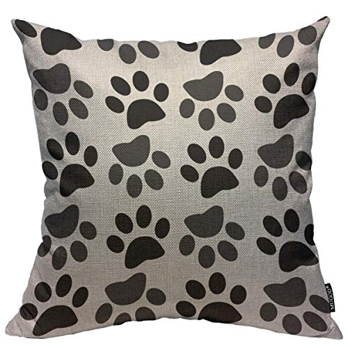 Mugod Throw Pillow Cover Cute Dog Paw Home Decorative Linen Square Pillow Case for Men Women Boy Gilrs Bedroom Livingroom Cushion Cover 18x18 Inch Black