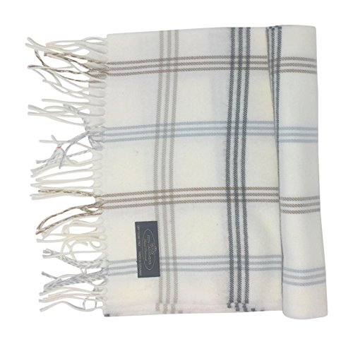 (Annys 100% Cashmere Plaid Scarf 12x72 with Gift Bag - Men Cashmere - Cashmere Women (22 Colors) (Plaid - Ivory/Black/Blue/Beige))