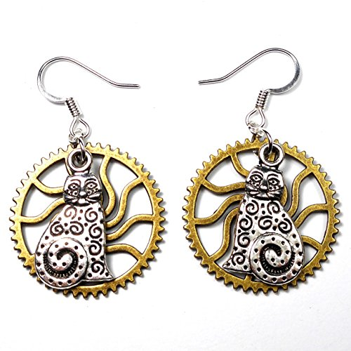 steampunk-lightweight-earrings-silver-tone-laurel-burch-style-cat-charm-w-gear-cat-lover-gift