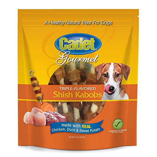 Cadet Rawhide Triple Flavored Dog Chew Treats |TBD Count | Real Duck, Chicken, Sweet Potato Shish Kabob Twists