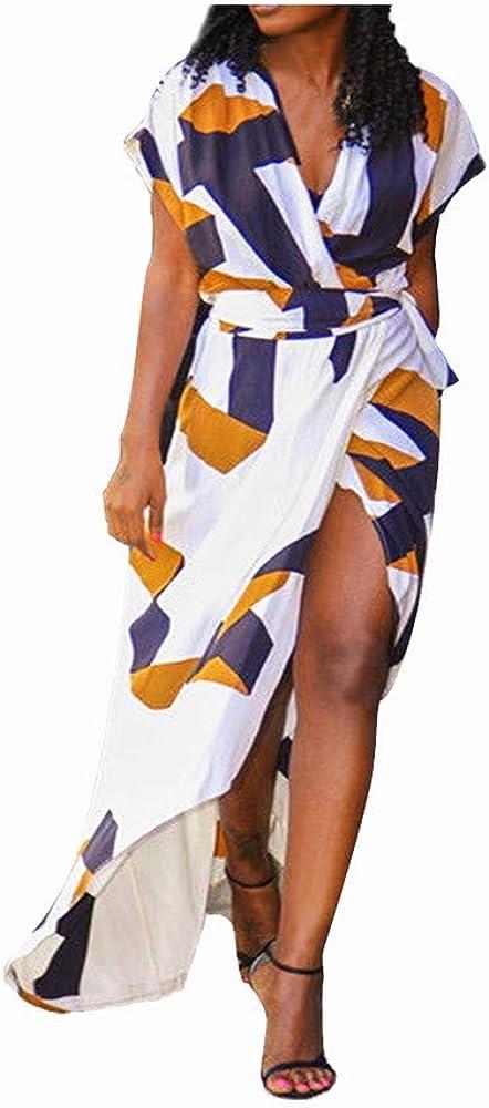 Womens Casual Elegant V Neck Floral Print Short Sleeve Split Long Maxi Dress Party Beach Sundress