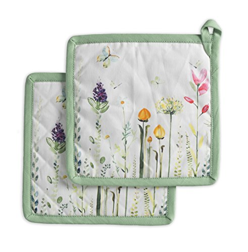 Maison d' Hermine Botanical Fresh 100% Cotton Set of 2 Pot Holders 8 Inch by 8 Inch