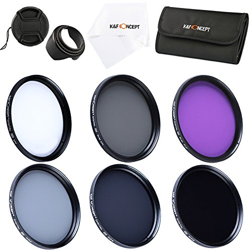 K&F Concept 77mm Filter, Slim 77mm UV Filter + Polarizing Filter Slim + Neutral Density Filter Set + Slim FLD Lens Filter Kit Compatible with Canon Nikon Digital Camera Lens