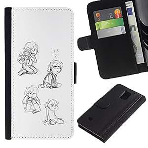 UPPERHAND Imagen de Estilo Cuero billetera Ranura Tarjeta Funda Cover Case Voltear TPU Carcasas Protectora Para Samsung Galaxy Note 4 SM-N910 - niña niño jugando arte feliz gráfico