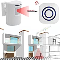 LIYUDL Wireless Home Security Driveway Alarm, 1 Plug-in Receiver and 1 PIR Motion Sensor Detector Alert System Kit, Quality Sound and LED, 38 Chime Tunes