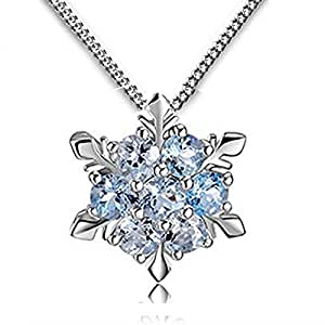 Women Girls Jewelry Elsa Frozen Snowflake Sterling Silver Necklace With Blue Pendant